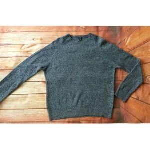 J. CREW 100% LambsWool Sweater Navy Blue/Gray  XL